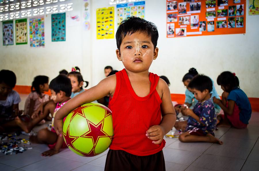 A young child playing in the recreation center at Mae Tao Clinic in Mae Sot, Thailand.