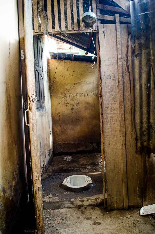 A squatter toilet found in Battambang, Cambodia.