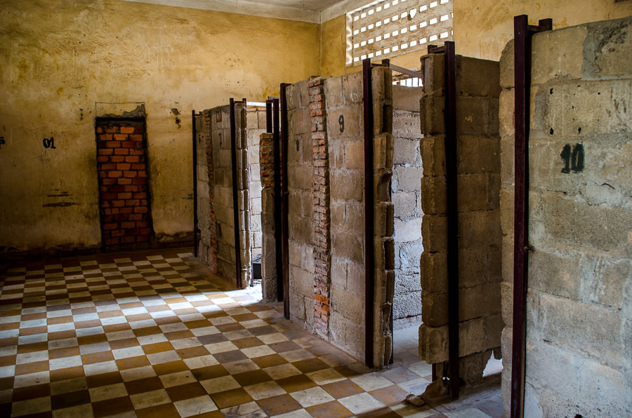 A classroom that was converted to a prison at S-21, Tuol Sleng in Phnom Penh.