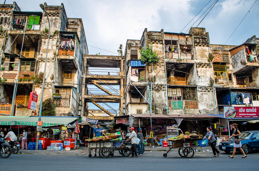 White Building, a notorious slum in the heart of Phnom Penh, Cambodia designed by architect Vann Molyvann