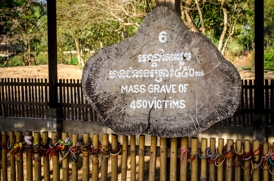 A mass grave site of 450 victims of the Khmer Rouge at the killing fields outside phnom penh