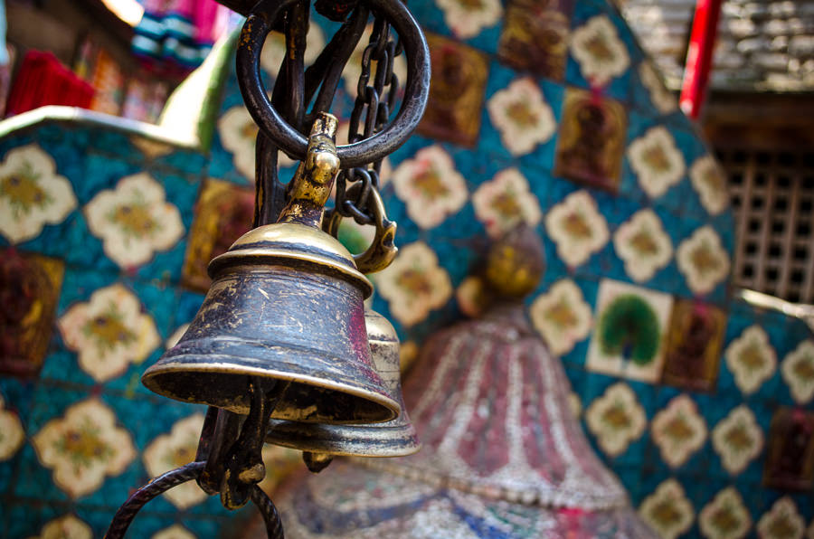 Bells at a place of worship in Kathmandu, Nepal.