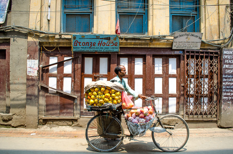 A fruit vendor on the street in Kathmandu, Nepal
