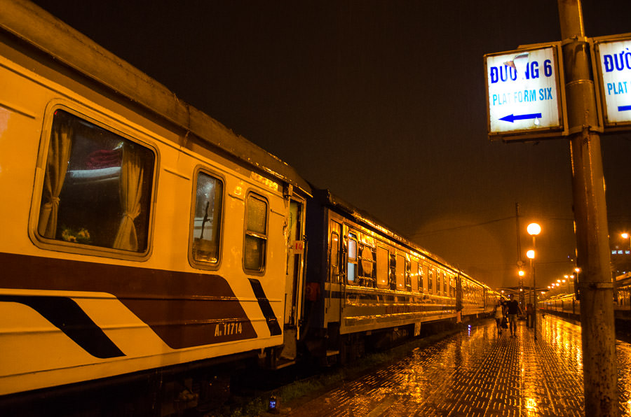 Hanoi train station at night.