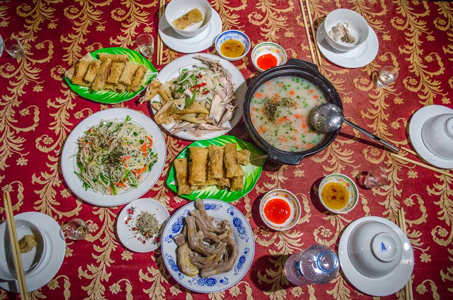 A spread of Vietnamese food.
