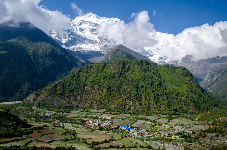 Annapurna II with Lower Pisang below.