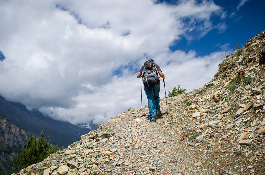 Adrian making the tough climb up the hill to Ghyaru, Nepal
