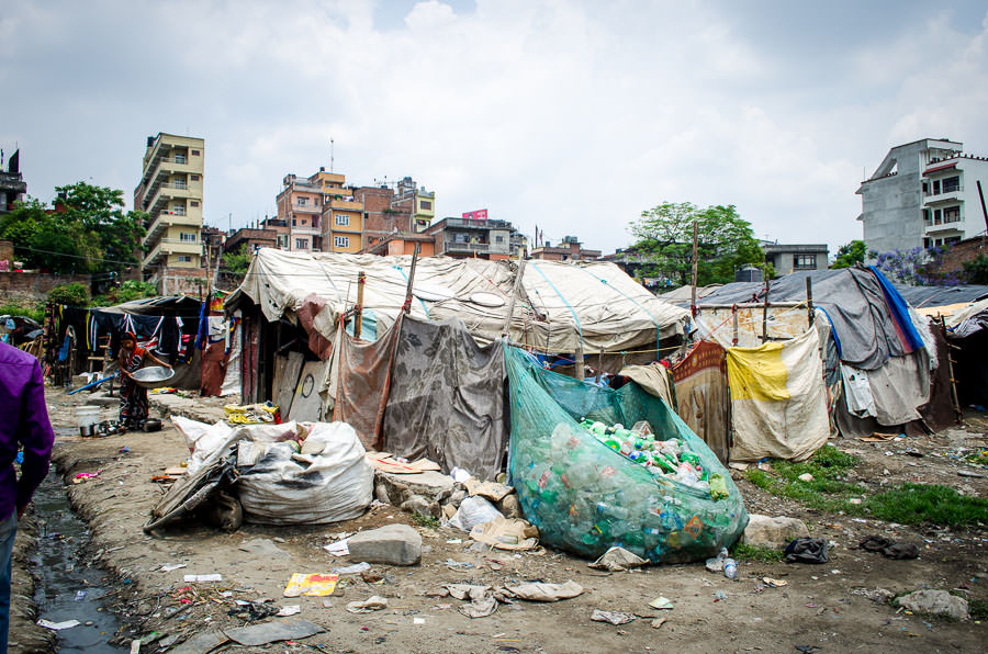 Bags full of plastic outside of the tent city in Kathmandu, Nepal