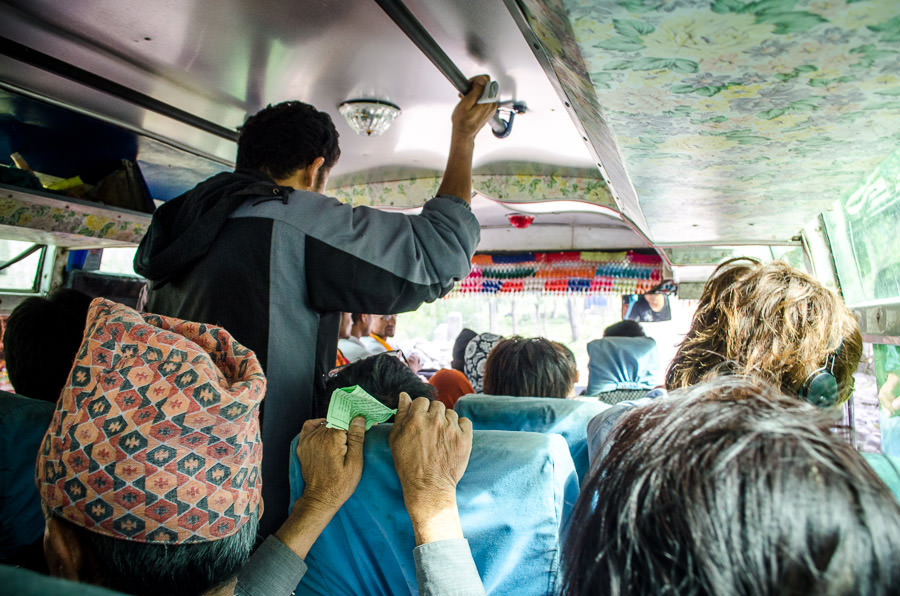 A crowded bus in Nepal.