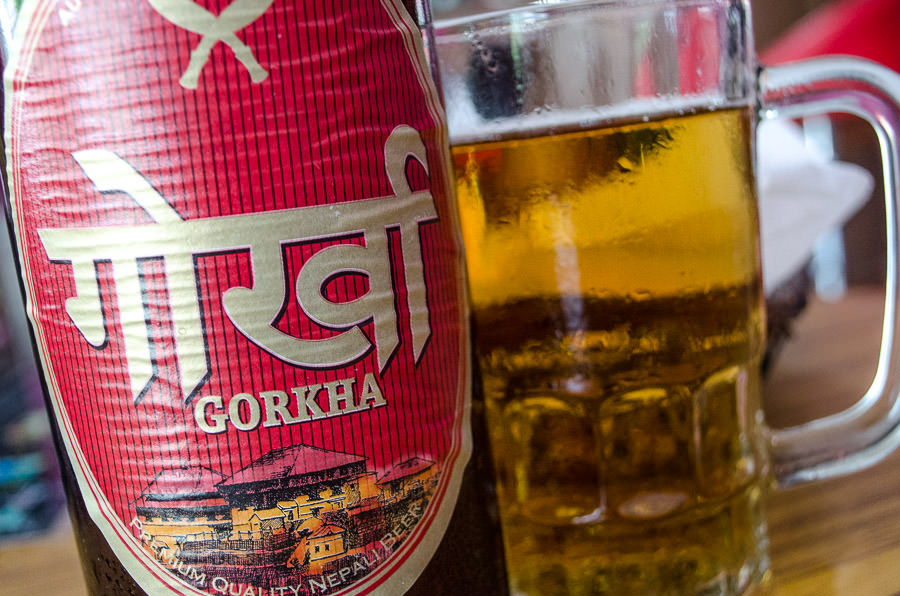 A close up of a Gorkha beer