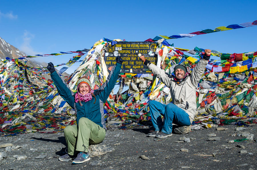 Ashlie and Adrian celebrating their arrival at Thorong-La Pass