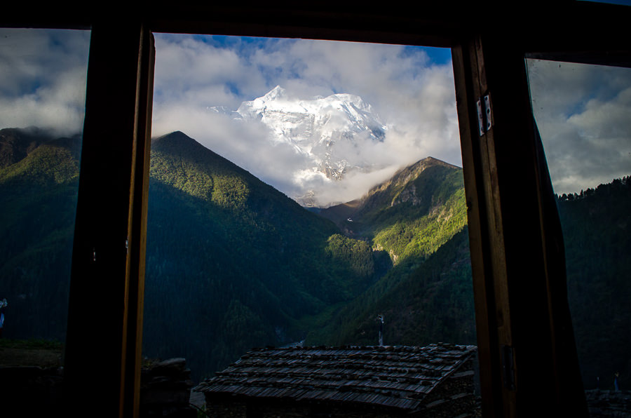 The view of Annapurna II from our teahouse in Upper Pisang.