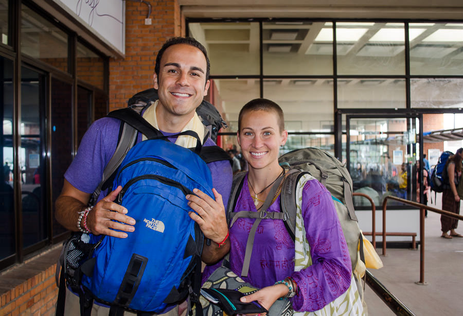 Adrian and Ashlie at the Kathmandu airport en route to Bangkok
