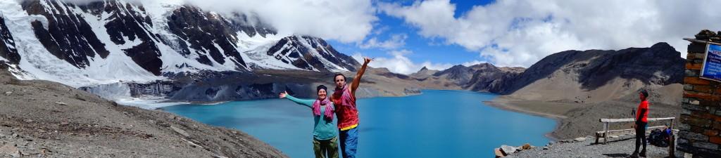Panoramic of us at Tilicho Lake