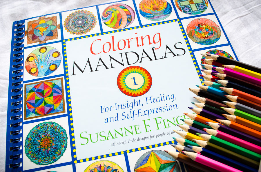 Coloring Mandalas coloring book and pencils