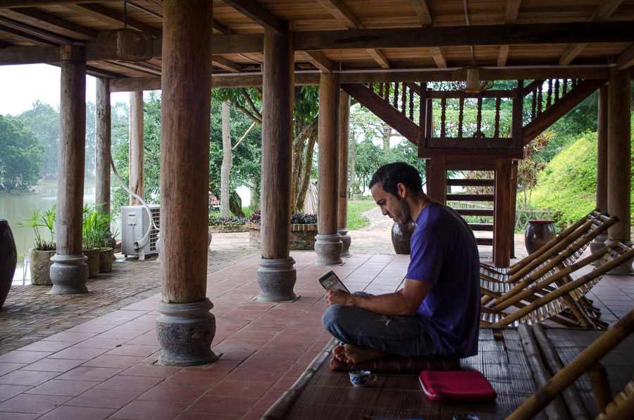 Adrian working in the courtyard area of Moon Garden Home Stay