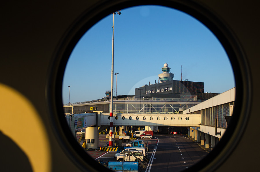 View of the Amsterdam airport from the boarding bridge
