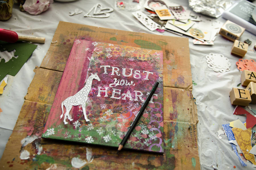 A canvas that reads Trust your Heart